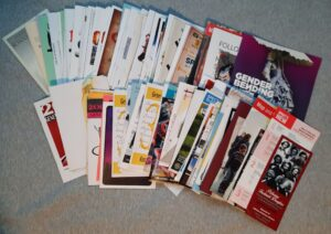 an assortment of brochures and programs