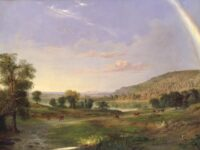 Pastoral landscape of a young couple strolling through a pasture towards a house at the end of a rainbow